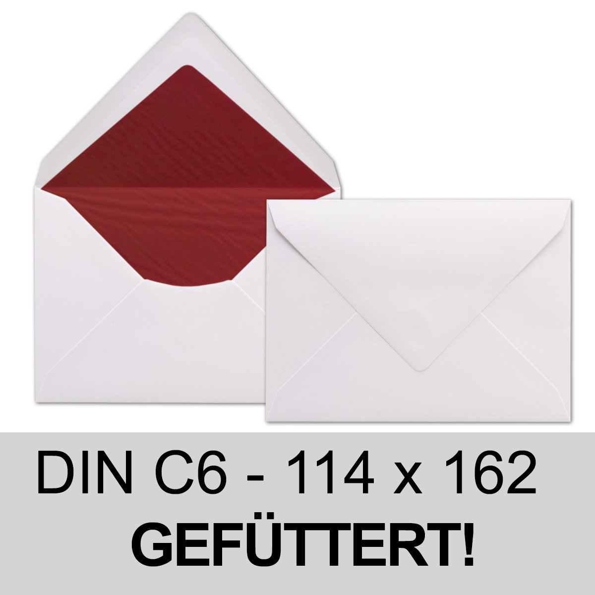 White Envelopes DIN C6, Lined with Red Tissue Paper - 100 g/m² - 114 ...