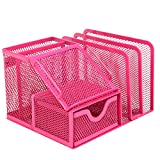 MyGift Metal Mesh Office Supplies Storage Rack, Mail Organizer, Post It Note Memo Pad Holder, Magenta