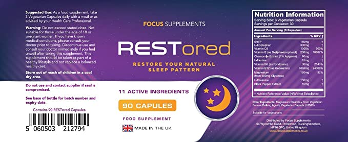RESTored Combinación Herbal de 5-HTP, L-Triptófano, Magnesio Glicinato, L-Teanina, Minerales y Vitaminas Esenciales - Suplemento para Ayudar a Dormir y ...