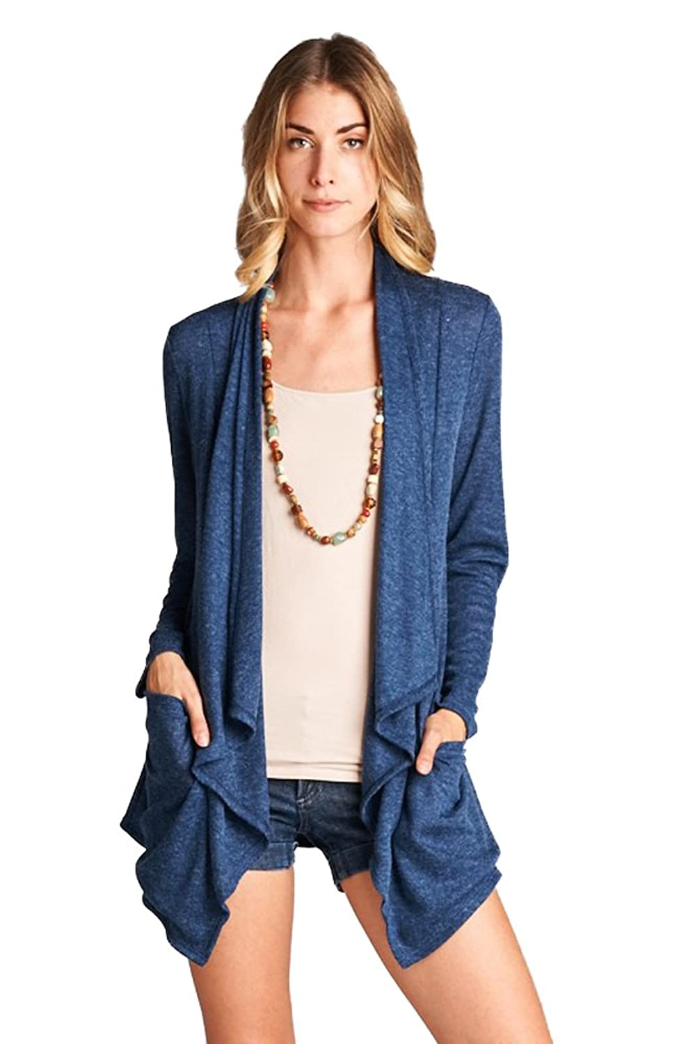 Solid Open Front Soft Stretchy Cardigan