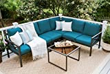 Cheap Leisure Made Blakely 5 Piece Black Outdoor Sectional, Peacock Fabric