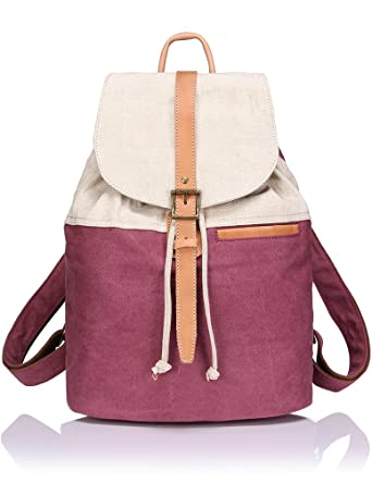 Amazon.com | ZEKAR Small Canvas Linen Leather Backpack Purse ...