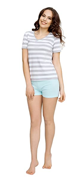 Utenos Eco Collection algodón orgánico (95%) para mujer, pantalones cortos pijama conjunto