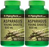 Piping Rock Asparagus Young Shoots 600 mg 2 Bottles x 100 Quick Release Capsules Herbal Supplement
