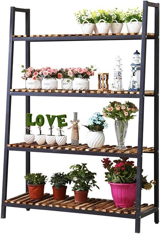 soporte macetas Estante de escalera industrial, soporte para plantas de flores, estantería de 4 niveles, estantes de estantería de almacenamiento, muebles decorativos con aspecto de madera, marco de: Amazon.es: Hogar