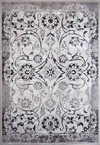 Floral Vines Rectangle Rug (Designer Home Transitional Bordered Floral Vines Area Rug Floor Decor - 7' 9