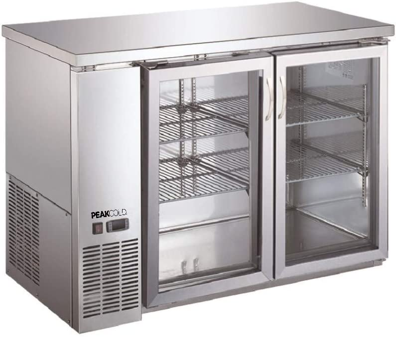 "PEAK COLD 2 Glass Door Commercial Back Bar Cooler; Stainless Steel Under Counter Refrigerator; 48"" W"