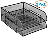 Halter Steel Mesh Horizontal File Paper Tray Desk Organizer - 13.25'' X 10'' X 2.75'' - 2 Pack …