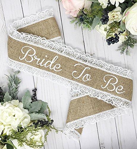 Burlap Bachelorette Sash - Burlap & White Lace by Lauren Lash Designs