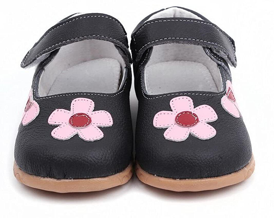 Bumud Girls Genuine Leather First Walkers Round Toe Flower Princess Dress Mary Jane Flat Shoes