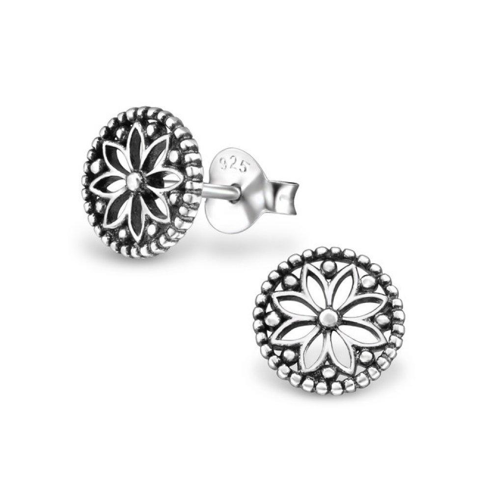 Sterling Silver Oxidized Flower Stud Earrings