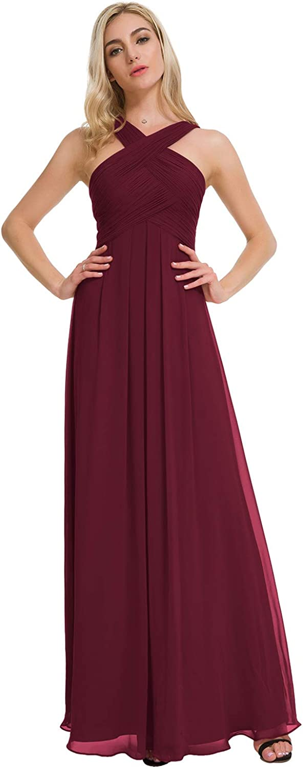 Alicepub Crisscross Neck Bridesmaid Dress Chiffon Long Formal Dresses for Women Party Evening