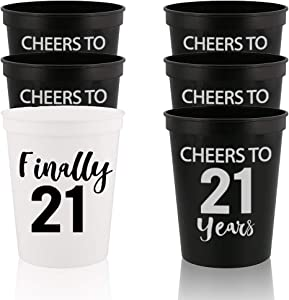 Veracco Finally 21 And Cheers To 21 Years - Twenty First Stadium Party Cup Funny 21s Birthday Gag Gifts For Him Herr Party Favors Decorations (White/Black, 12)