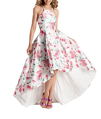 Z Sexy Backless High Low Spring Floral Princess Prom Dresses Long Formal Evening Party