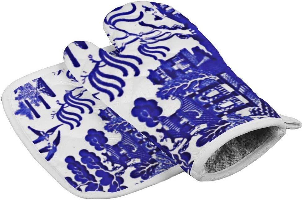 Blue Willow Carve The Turkey in Style Entrance 1 Oven Gloves Microwave Gloves Barbecue Gloves Kitchen Cooking Bake Heat Resistant Gloves Combination