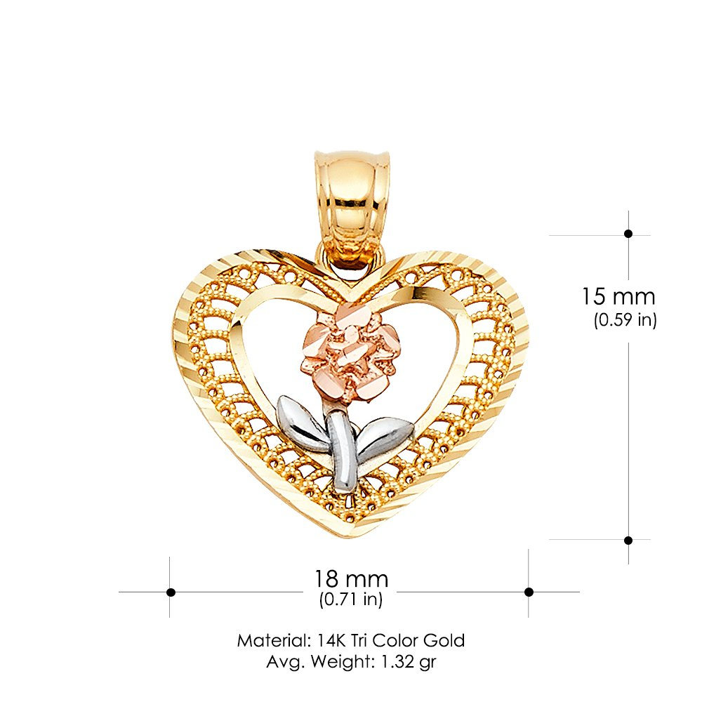 14K Tri Color Gold Flower in Heart Charm Pendant with 0.9mm Wheat Chain Necklace