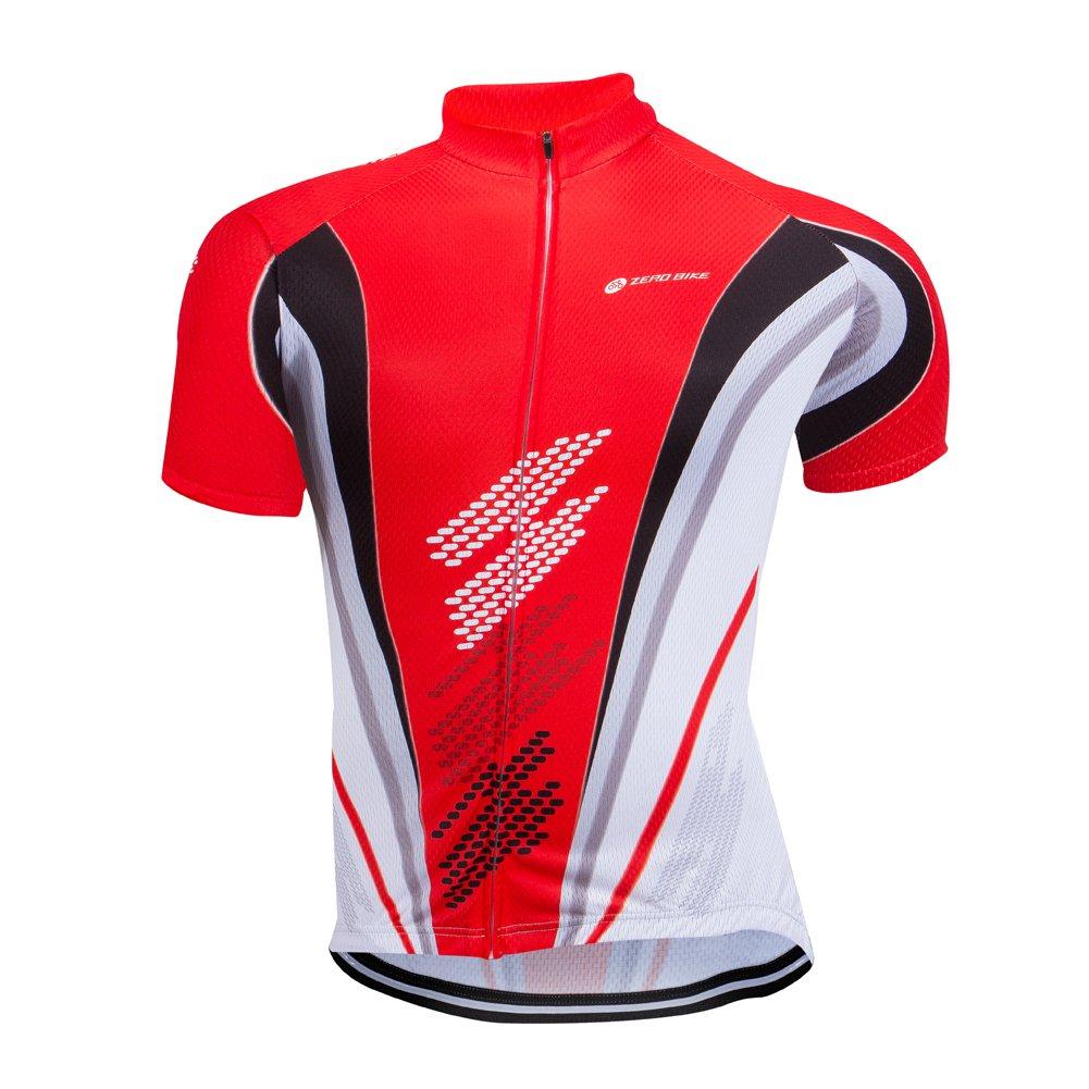 ZEROBIKE Men Short Sleeve Cycling Jersey Breathable Full-Zipper Shirts Quick Dry karru