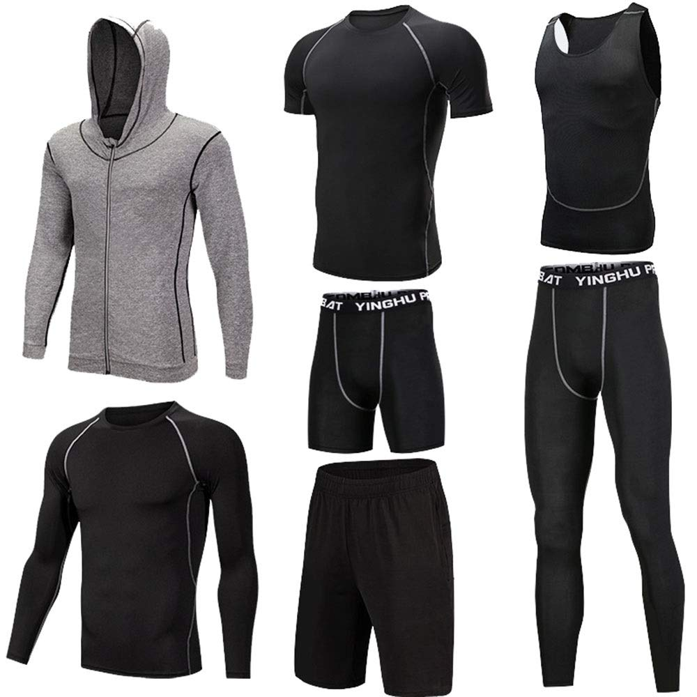 Wuxingqing Gym Wear Fitness Bekleidung Set 7-TLG. Workout-Kleidung für Herren mit Outwear, Kompressionshose, 3er-Pack Tshirt, 2er-Pack Shorts (Color : Black Gray, Size : XXL)