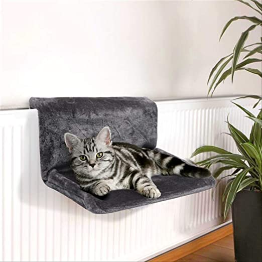 MYQG Cama de Gato Gato Hamaca Jaula Radiador Ventana Cama Lounger Cojinetes Cojín Ajustable Caliente Estante Casa De Asiento para Gatos Mascotas L Negro: Amazon.es: Productos para mascotas