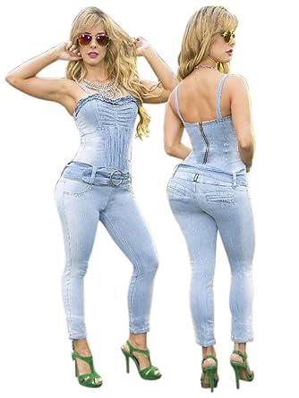 b26edcc8b313 Amazon.com  Yes Brazil Colombian Butt Lift Jean Jumpsuit Enterizo  Colombiano Light Blue  Clothing
