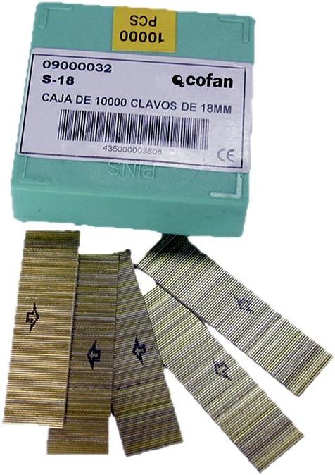 Cofan 09000032 Clavos para clavadora neumática, 0.011 V, 18 mm, Set de 10000 Piezas: Amazon.es: Bricolaje y herramientas