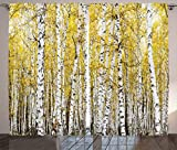 Ambesonne Farm House Decor Curtains by, Autumn Birch Forest Golden Leaves Woodland October Seasonal Nature Picture, Living Room Bedroom Decor, 2 Panel Set, 108 W X 84 L Inches, Yellow Grey For Sale