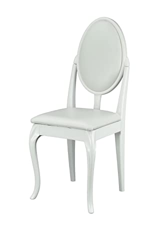 White Dressing Table/Bedroom Chair With Cabriole Legs And White Faux  Leather Cushions: Amazon.co.uk: Kitchen U0026 Home