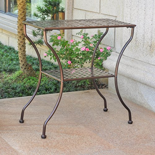 - 2-Tier Patio Side Table in Hammered Bronze