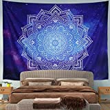 Mandala Tapestry Wall Tapestry Wall Hanging Blue and White Tapestry Psychedelic Bohemian Hippie Tapestry Starry Galaxy Tapestry Nature Tapestry for Bedroom Home Decor (X-Large, Blue Mandala)