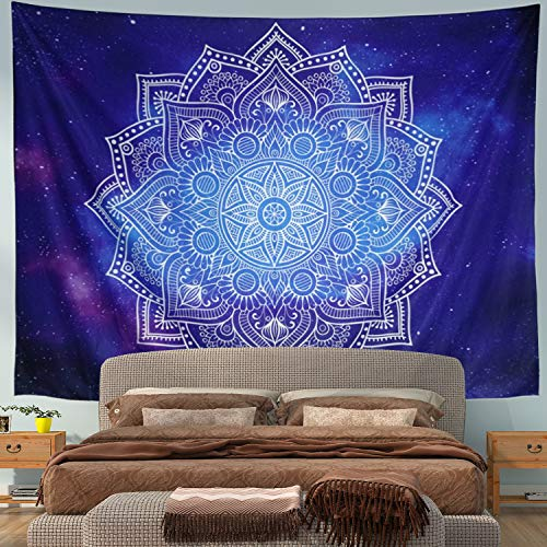 Mandala Tapestry Wall Tapestry Wall Hanging Blue and White Tapestry Psychedelic Bohemian Hippie Tapestry Starry Galaxy Tapestry Nature Tapestry for Bedroom Home Decor