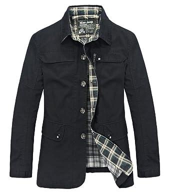 BININBOX® Herren Frühjahr langärmelige Jacke Windbreaker Baumwoll  fashionable Arbeitjacke Windjacke Mantel für Ältliche (Deutsche 45734fed2b