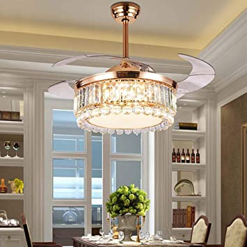"""42/"""" Luxury Crystal Ceiling Fan Light LED Chandelier Retractable Blade Invisible"""