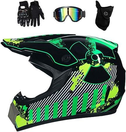 Motocross Helm Mit Brille Adult Off Road Motorradhelm Crosshelm Set Handschuhe Maske Unisex Fullface Cross Helm Downhill Quad Enduro Atv Motorrad Schutzhelm Für Herren Damen Grün M Auto