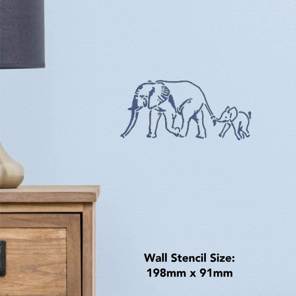 Azeeda Grand A2 /Él/éphant et Veau Pochoir Mural WS00033105
