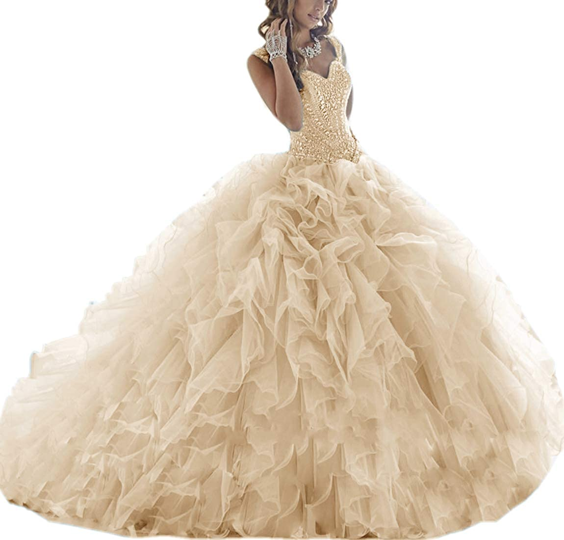 Champagne APXPF Women's Crystals Beaded Organza Ruffle Quinceanera Dress Sweet 16 Ball Gown Prom Dress
