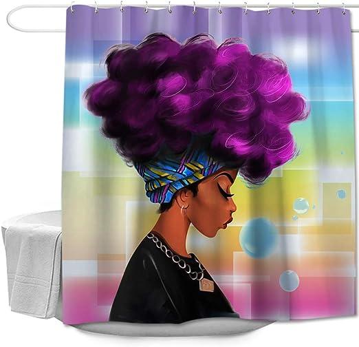 Waterproof Fabric Purple Hair African Girl Bathroom Mat Set Shower Curtain Liner