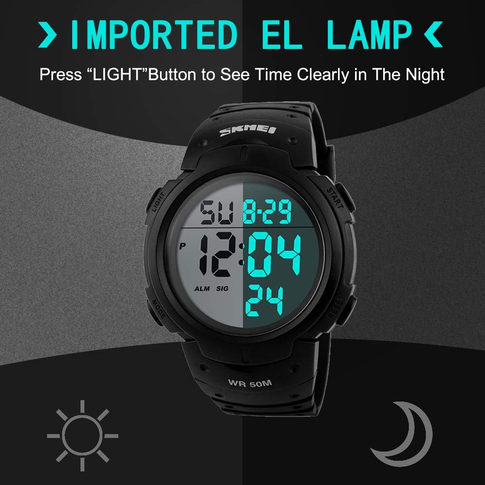 a104a6261 JOYSAE Men's Digital Sports Watch LED Large Face Military Waterproof Watches,  Army Alarm Stopwatch,