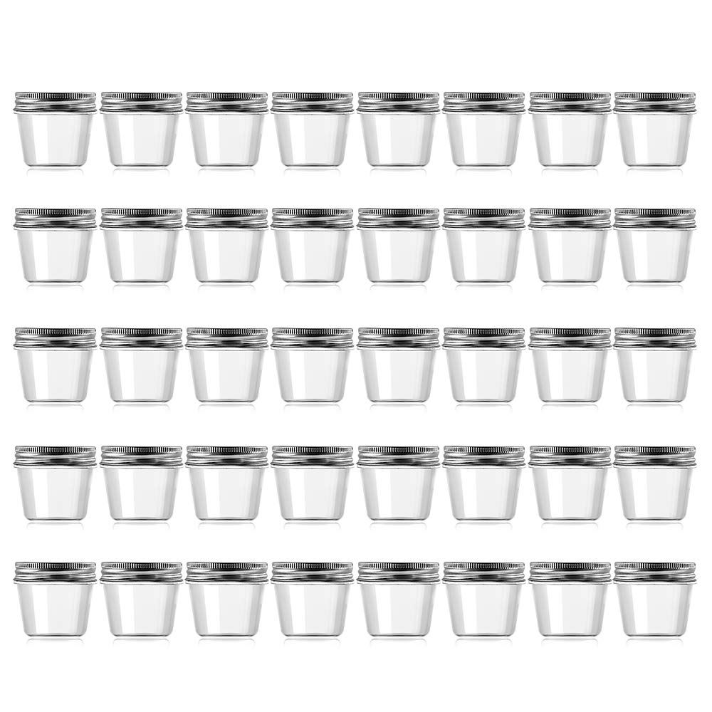 Novelinks 4 Ounce Clear Plastic Jars Containers With Screw On Lids - Refillable Round Empty Plastic Slime Storage Containers for Kitchen & Household Storage - BPA Free (40 Pack)
