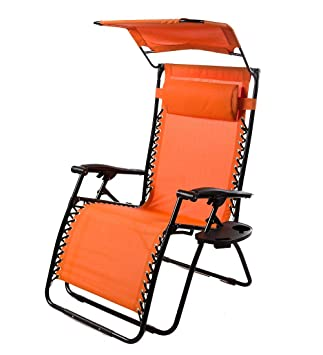 Outdoor Deluxe Zero Gravity Chair With Canopy, Adjustable Patio Recliner  With Table And Drink Holder