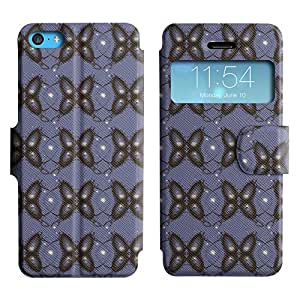 LEOCASE mariposa negro Funda Carcasa Cuero Tapa Case Para Apple iPhone 5C No.1003963