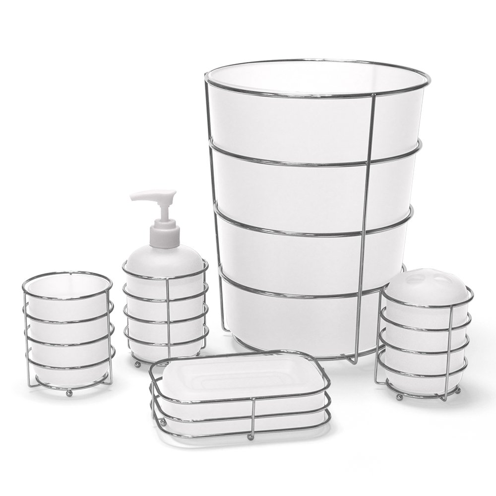Allure Home Creations Wireware 5-Piece Bathroom Accessory Set - 1 Lotion Pump, 1Toothbrush Holder,1 Soap Dish,1 Tumbler and 1 Wastebasket
