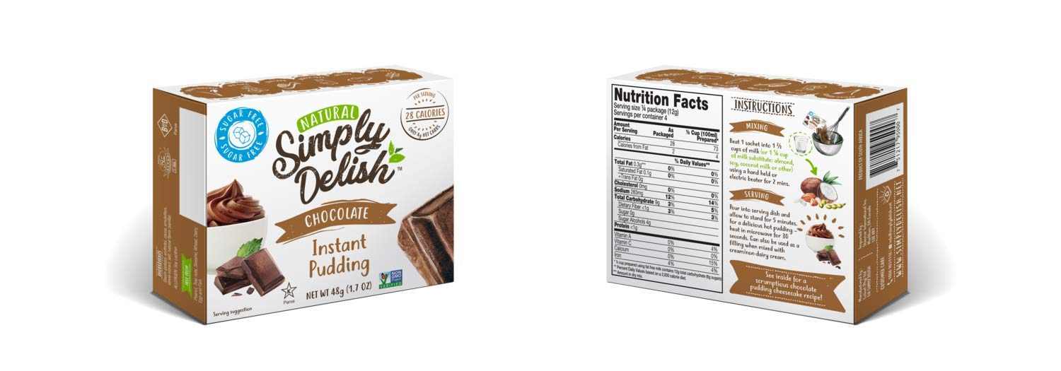 Simply Delish Natural Instant Chocolate Pudding - Sugar Free, Non GMO, Gluten Free, Fat Free, Lactose Free, 1.7 OZ (Pack of 12) by Simply Delish (Image #3)