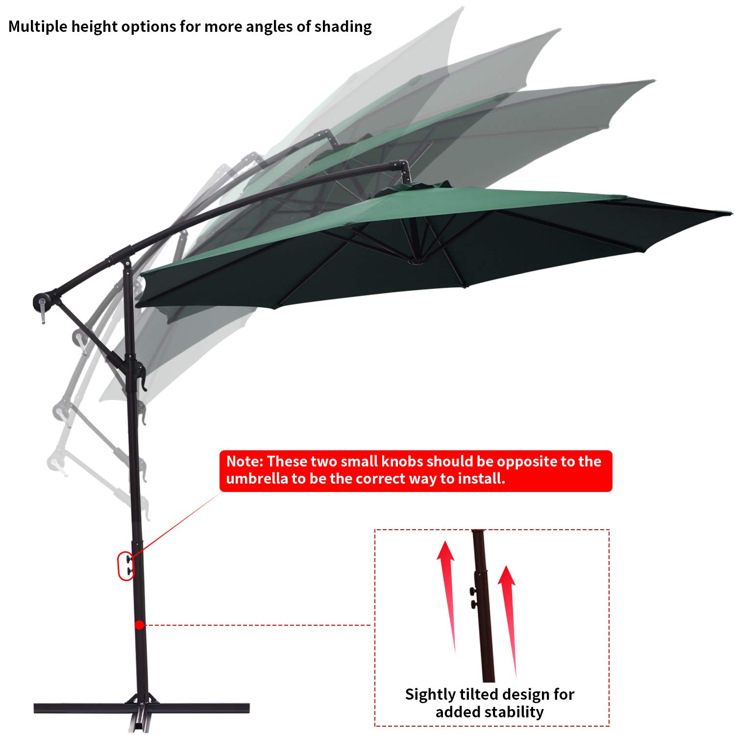 RUBEDER Offset Umbrella - 10Ft Cantilever Patio Hanging Umbrella,Outdoor Market Umbrellas with Crank Lift & Cross Base (10 Ft, Dark Green) by RUBEDER (Image #6)