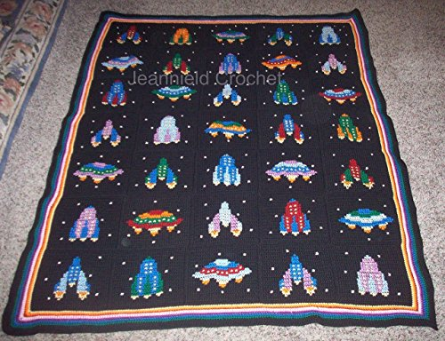 Hand Crocheted Afghan (Hand Crocheted Space Ship Afghan / Throw / Baby Blanket)