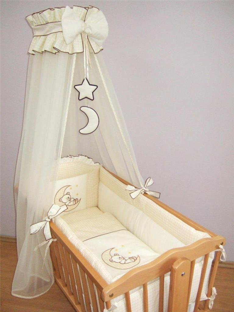 10 Piece Nursery Crib Bedding Set 90x40cm Fits Rocking/Swinging Cradle (Bear Moon Cream) Baby Comfort
