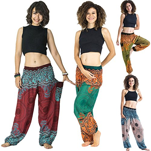 vermers Women Thai Harem Trousers Boho Festival Hippy Smock High Waist Yoga Pants (Free Size, Green)
