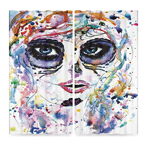 TecBillion Sugar Skull Decor Window Curtains,Halloween Girl with Sugar Skull Makeup Watercolor Painting Style Creepy Decorative,Living Room Bedroom Curtain, 2 Panel Set,86W X 70L Inches ()