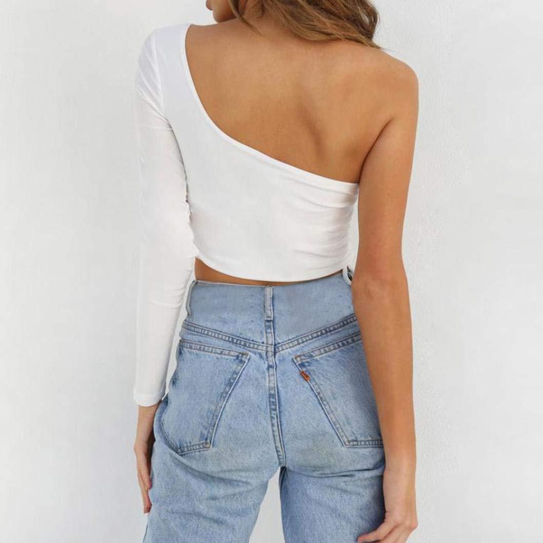 55ddc34ab7fa19 ABCone-Donna Pullover Felpa Benda Monospalla a Fascia Rigida T-Shirt  Maniche Lunghe Elegante Autunno Camicette Camicie Casual Tops: Amazon.it:  Abbigliamento