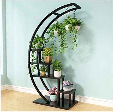 KEWEI Estante 5 Tier Metal Plant Rack Estante Estantería Creativa con Forma de Media Luna Escalera Maceta Estante de pie for el hogar Patio Jardín de césped Balcón, A: Amazon.es: Hogar
