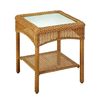 Martha Stewart Living Charlottetown Natural All Weather Wicker Patio Accent  Table